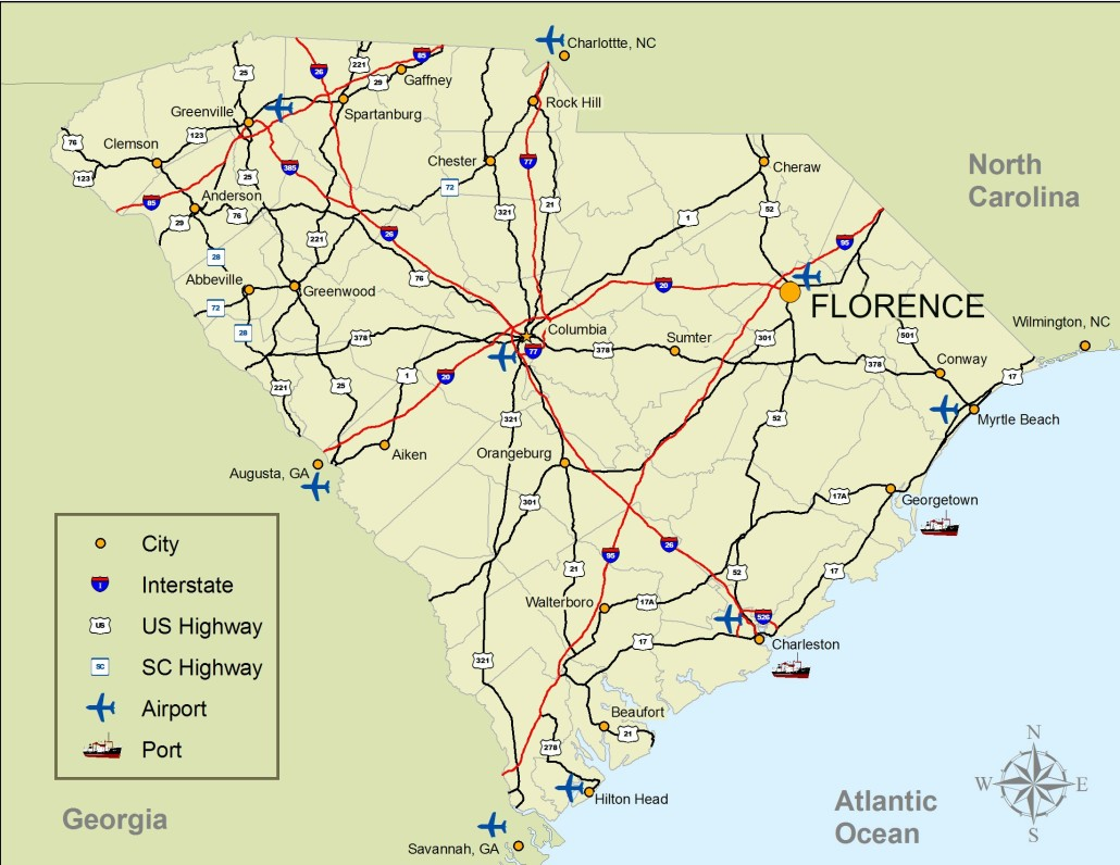 Nc Map Of Cities And Towns.Greater Florence Chamber Of Commerce Area Map